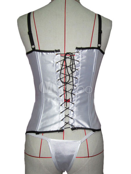 Women White Corset Straps Lace Up Two Tone One Piece Lingerie - Milanoo.com