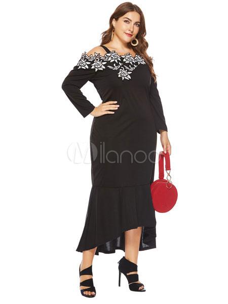 411ba2bcad8 Plus Size Black Dress Long Sleeve Lace High Low Maxi Dress - Milanoo.com