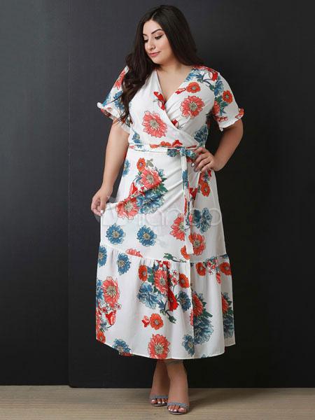 e4d4ec7d711 Plus Size Maxi Dress White Floral Summer Dress V Neck Short Sleeve Ruffles  Chiffon Wrap Dress ...