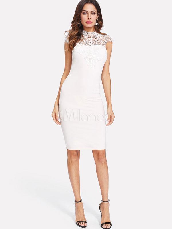 Vestido midi blanco ajustado