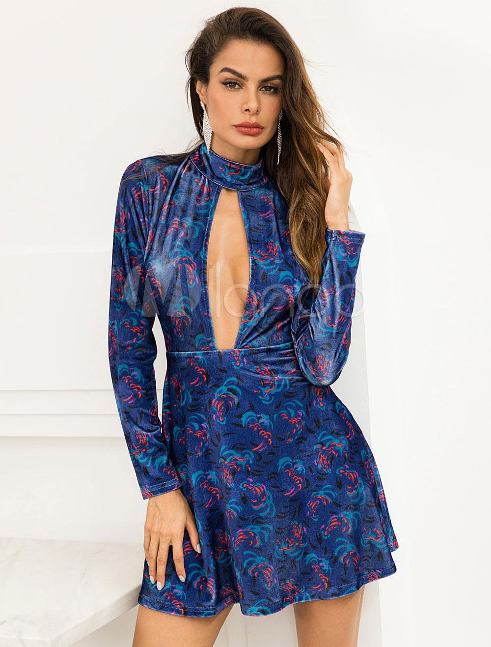 Frauen velvet dress sexy ausgeschnitten backless langarm - Kleider milanoo ...