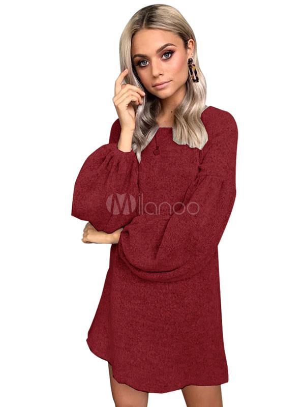 11f2631d3c Women Sweater Dress Long Sleeve Shift Dress Solid Color Knit Mini Dress-No.1  ...