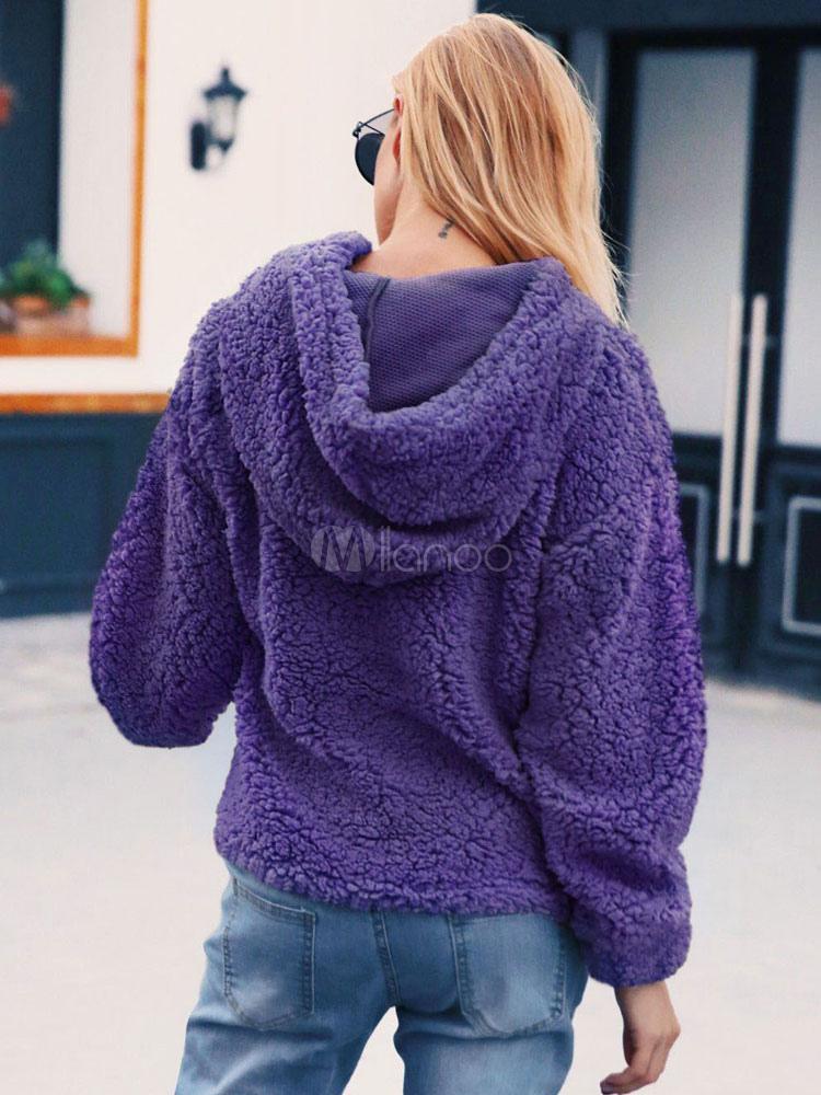 Purple Fleece Hoodie Women Teddy Bear Outerwear Fuzzy Top