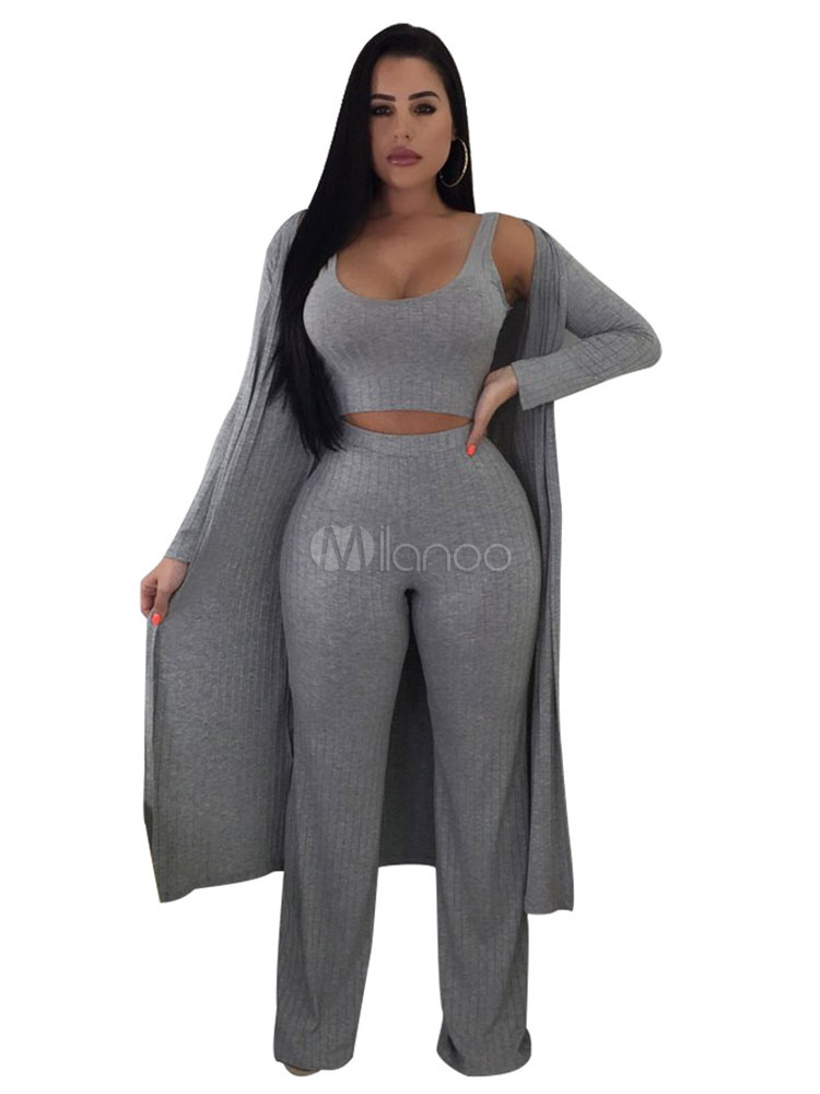 3 Piece Outfit Women Sexy Crop Top Wide Leg Pants With