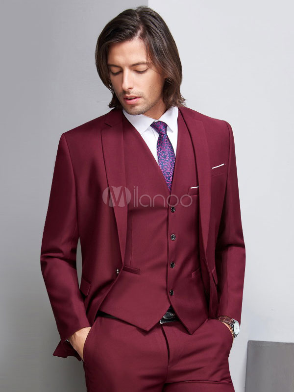 Abiti Da Cerimonia 3 Pezzi.Abiti Da Sposa Grooms And Groomsman Suit Gilet Bordeaux Pantaloni