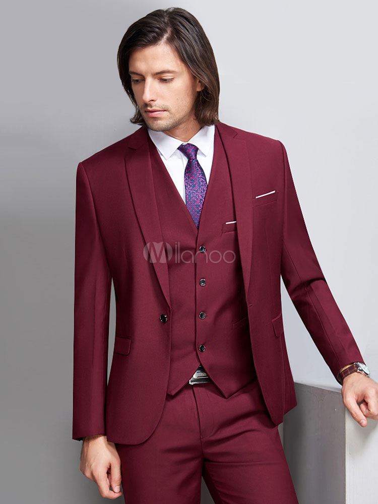 ... Wedding Suits Groom And Groomsman Suit Burgundy Jacket Waistcoat Pants  3 Piece Outfit Men Formal Wear ... c57f10d5e98
