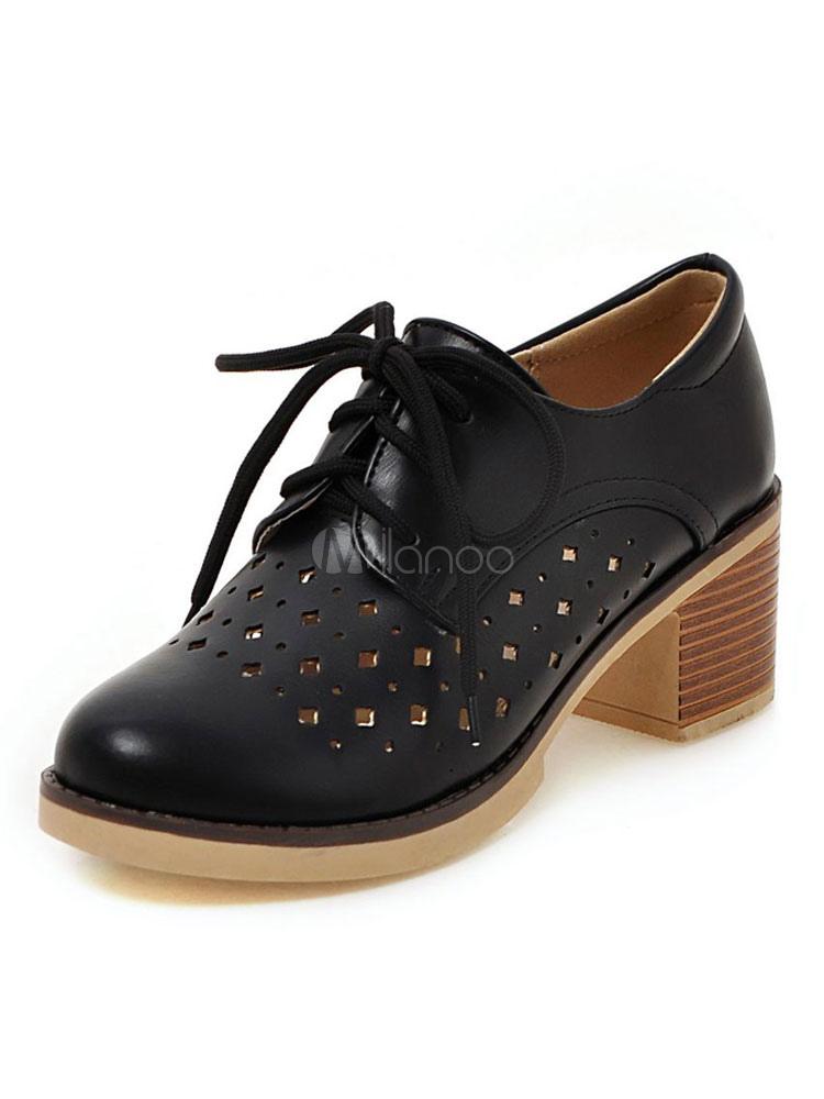 buy popular c4c91 d3b8e Scarpe Oxford bianche da donna con tacco largo e scarpe stringate con tacco  grosso