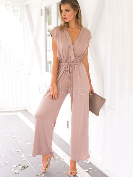 Buy Women Wrap Jumpsuit V Neck Drawstring Sleeveless Salmon Wide Leg Jumpsuit for $22.94 in Milanoo store