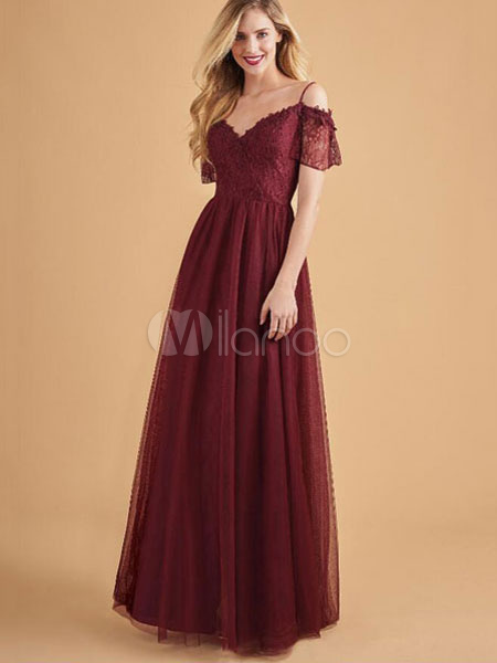 6eb95d5923 Tulle Maxi Dress Lace Evening Dress V Neck Cold Shoulder Burgundy Summer  Dress-No.