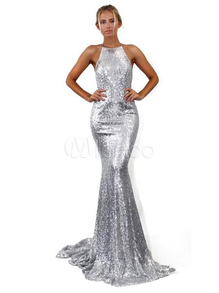 7e4aab02bc4c1 Abito lungo sexy in argento con paillettes Abito a sirena con glitter  backless-No.