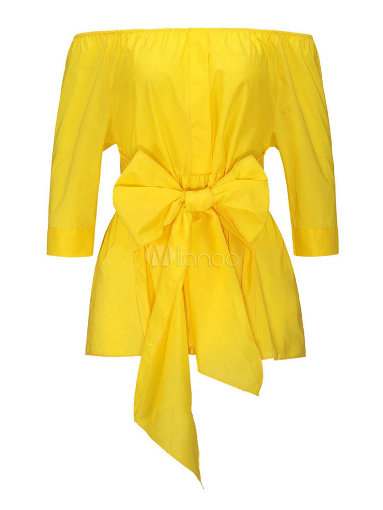 Women Yellow Blouses Bows Off The Shoulder Top Milanoo Com