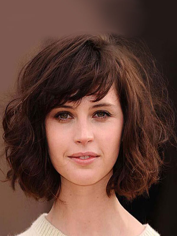 Buy Women Hair Wigs Deep Brown Tousled Short Curly Synthetic Wigs for $22.49 in Milanoo store