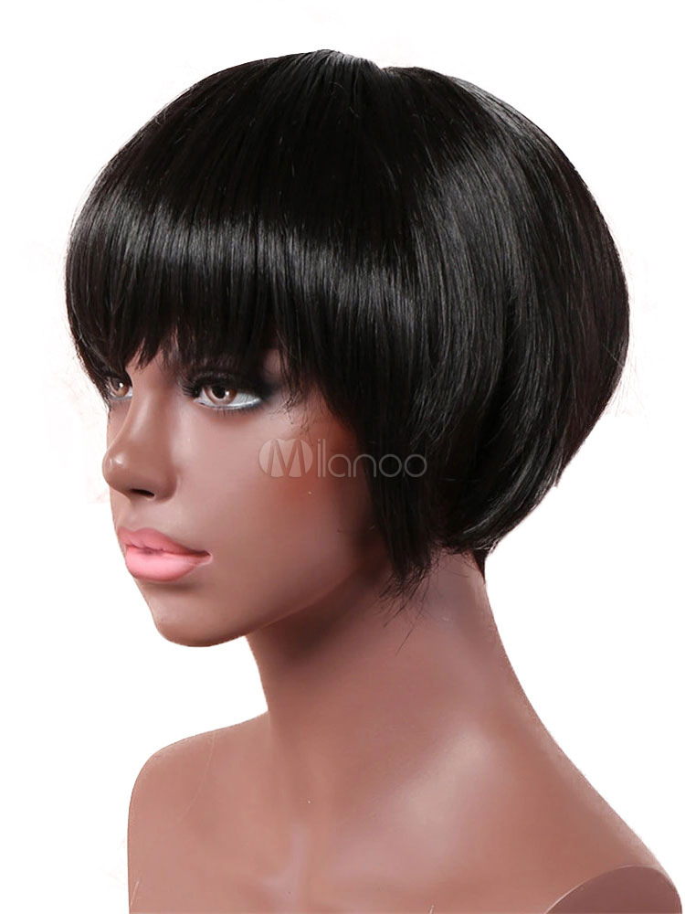 Short Hair Wigs Women Black Layered Synthetic Wigs With Bangs | eBay