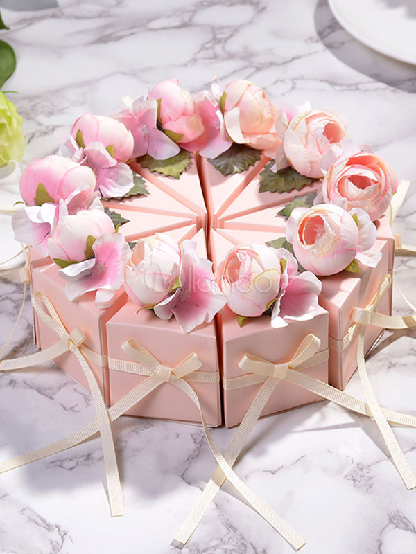 Birthday Favor Boxes 10 Pcs Pink Flower Cake Small Gift Candy Box Wedding Party Favor Holders