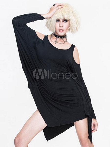 40d15edd1f763 Gothic Costume Vest Dress Batwing Women Black Cold Shoulder Long Sleeve  Punk Rave Dresses Halloween- ...