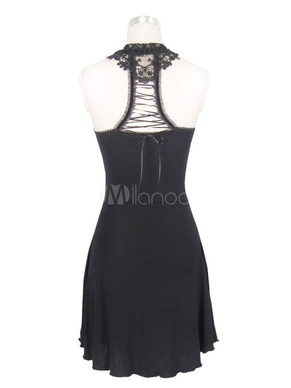 aa8aa40653bd ... Vestiti gotici di Halloween Abito da donna senza maniche in pizzo nero -No.6