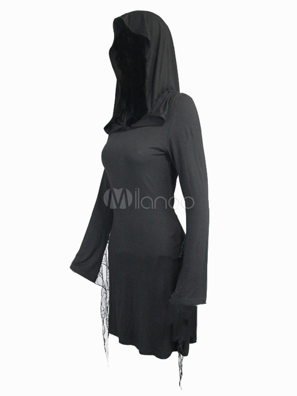 90199399a57 ... Хэллоуин готический костюм черные женщины с длинным рукавом с капюшоном  короткое платье-No.4 ...