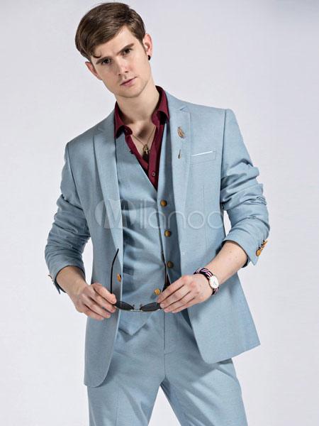 8096dea945bc2 Trajes de boda Smoking Tuxedo Groomsman y Traje azul claro Notch Laple  Jacket Pants Chaleco Outfit ...