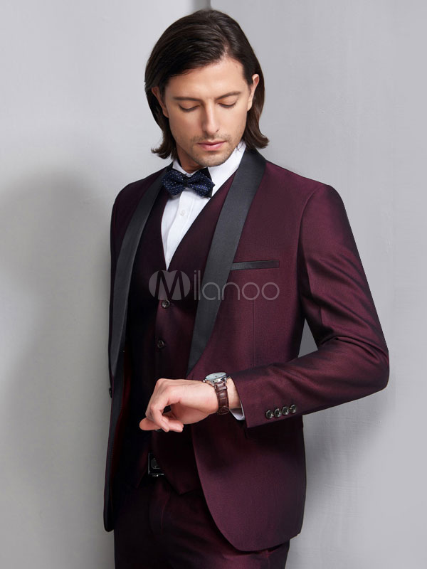 ... Wedding Suits Tuxedo Groom And Groomsman Suit Burgundy Shawl Laple  Jacket Pants Waistcoat Outfit Men Formal ... 5881ece9f12