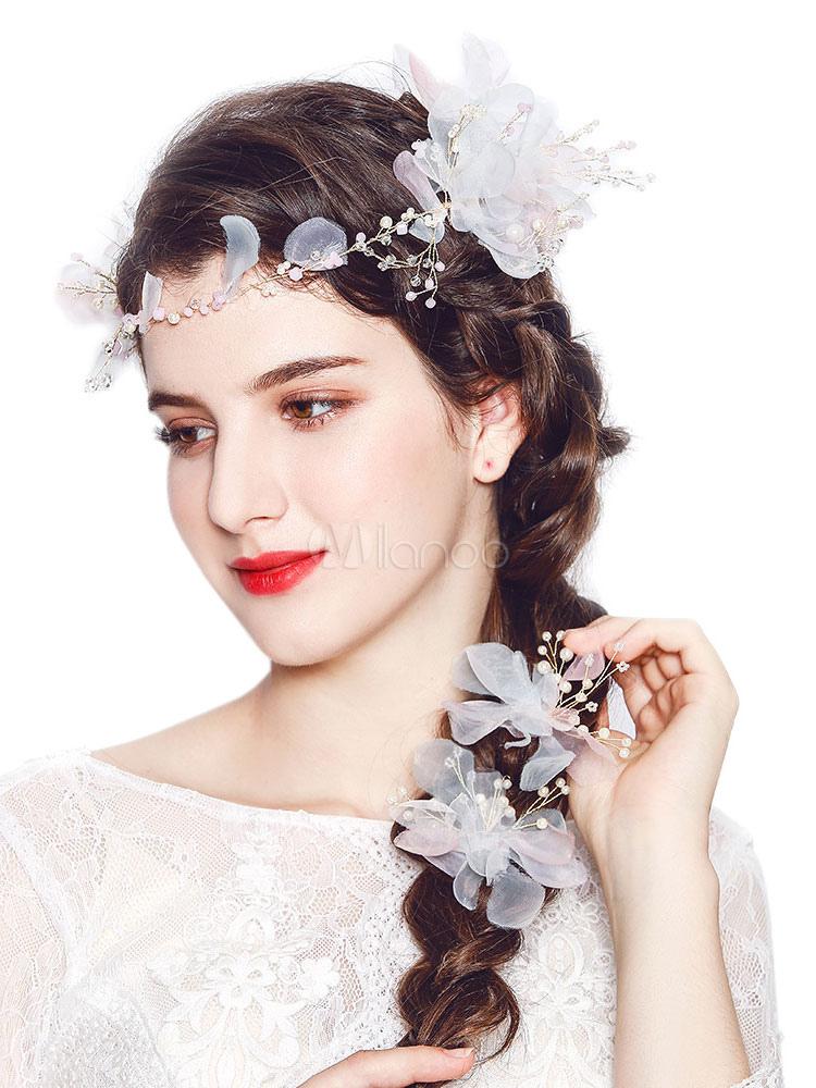 5b1233f59a7a Copricapo da sposa Fiori bianchi Perle fermagli per capelli e pettine  Accessori per capelli da sposa ...