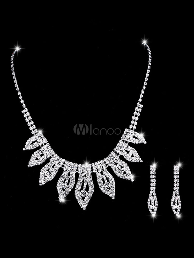 e9723f23f9 Wedding Jewelry Set Silver Earrings And Necklace Leaf Rhinestone Beaded  Bridal Necklace Set-No.