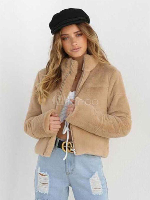 meilleures baskets 156d2 d7e60 Veste d'hiver femme col montant veste courte Zip Up veste d'hiver kaki