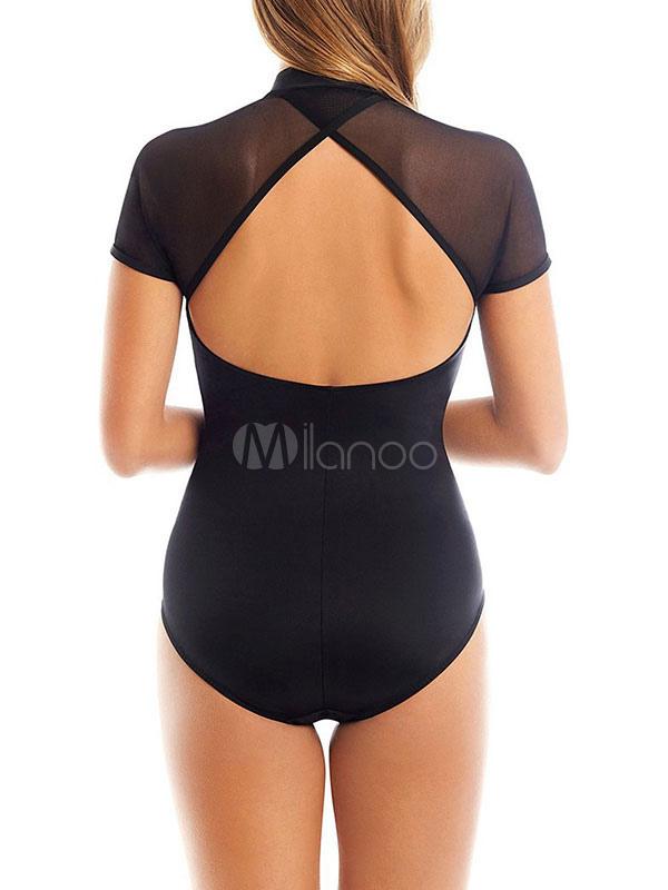 2742605412956 Women Black Swimsuit Short Sleeve Zip Up Cut Out One Piece Bathing Suit-No.