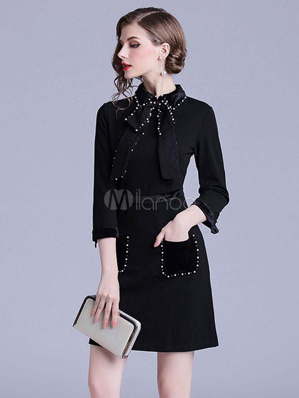 Little Black Dress Turndown Collar Skater Dress Bows Pearls Fall