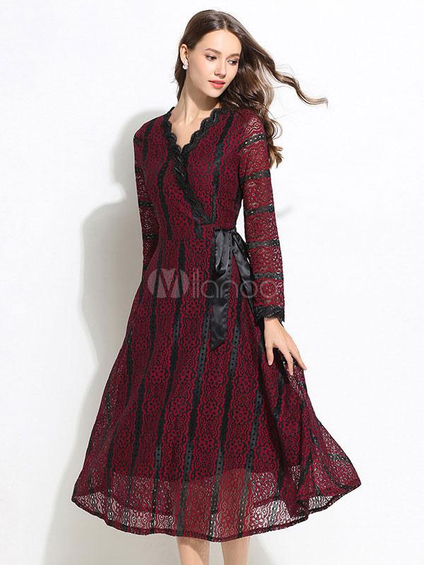 Striped Lace Dress Long Sleeve Party Dress V Neck Piping Burgundy Long Dress