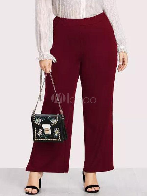 Décontracté Femme Pantalon Rouge Split Large Pantalon TP0qII