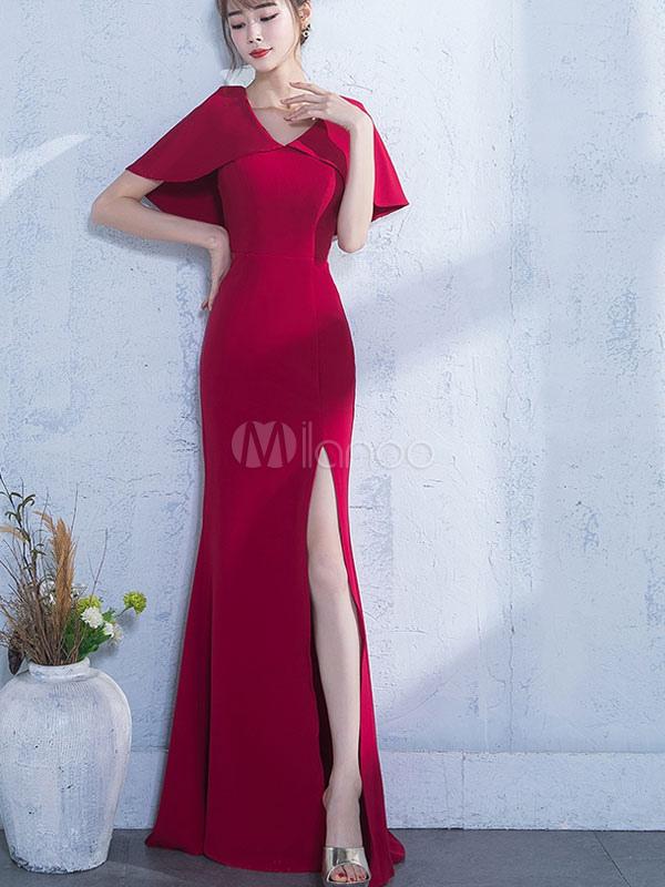 1788b9c61 صور فساتين سهرة قصيرة باللون الأحمر للمناسبات جميلة photo. ماكسي فستان أحمر  الخامس الرقبة فستان سهرة قصير الأكمام تشكيل فستان الكتف الرأس-No.