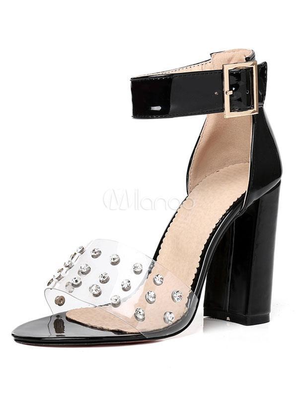 Buy High Heel Sandals Black Open Toe Rivets Ankle Strap Sandal Shoes Women Block Heel Sandals for $36.54 in Milanoo store