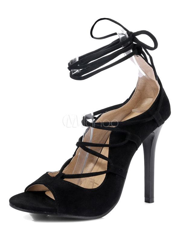 19d86865584 Women Gladiator Sandals Burgundy Open Toe Lace Up High Heel Sandals