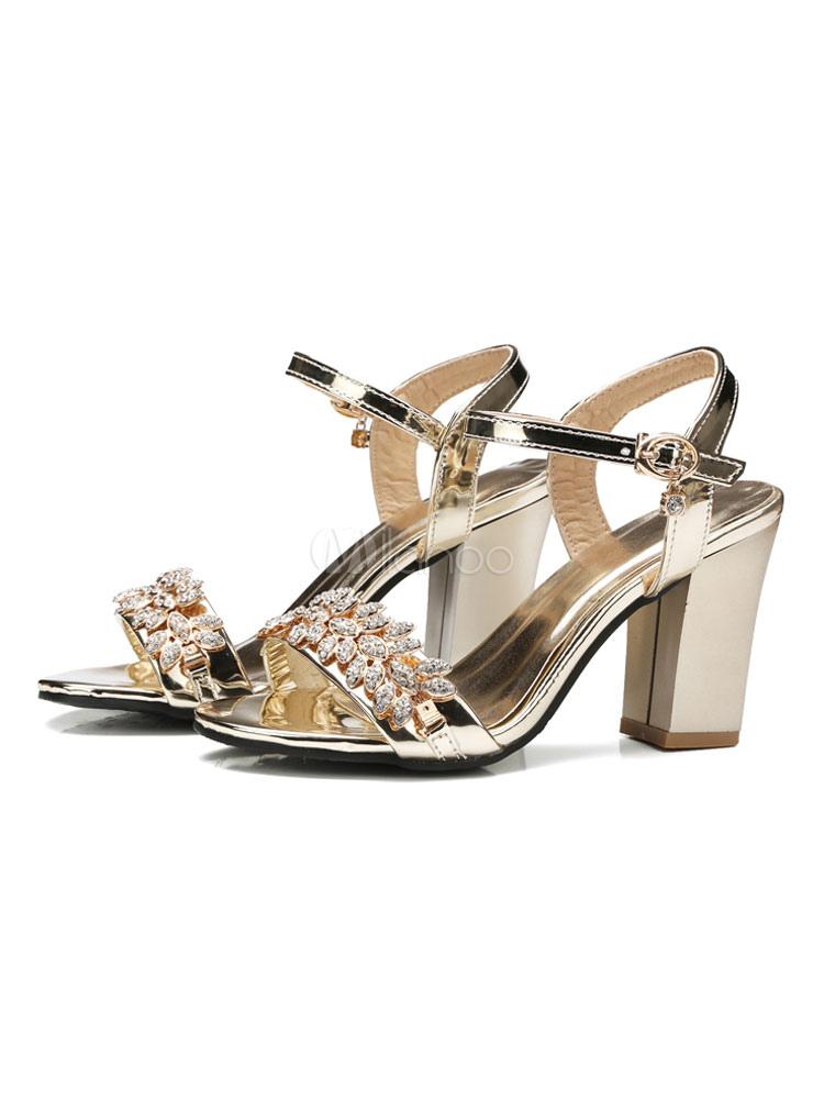 d2f1595736d High Heel Sandals Gold Open Toe Rhinestones Buckle Detail Block Heels For  Women-No.