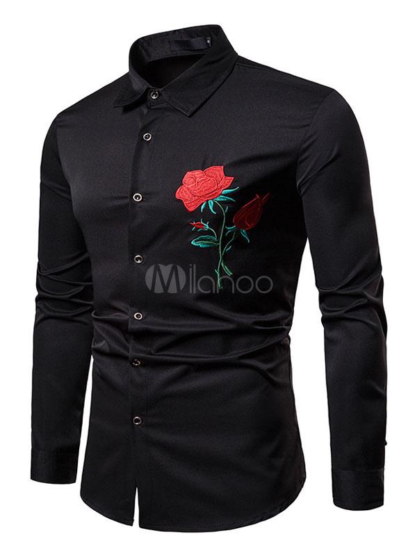 Manica Con Ricamo Rosa Uomo Camicia Nera Slim Lunga Fit txsQrBodCh