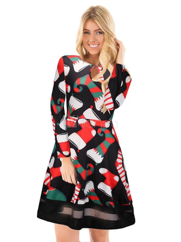 Abito longuette nero Abito manica lunga donna Vestito longuette stampa  natalizia-No.1 ... 3af436c7e9f