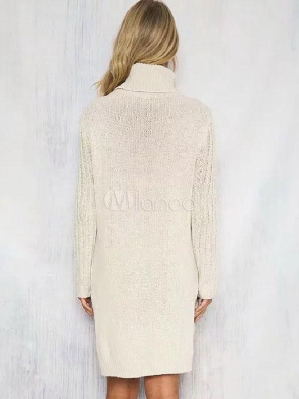 ff4a80ac580 ... Turtleneck Sweater Dress White Chunky Cable Knit Long Sleeve Split Midi  Dress-No.4