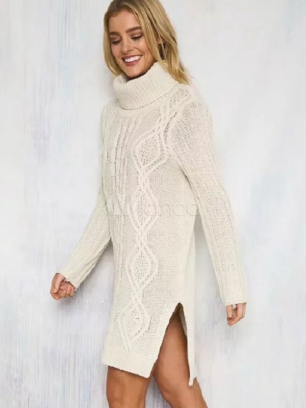 e2f08e14d34 ... Turtleneck Sweater Dress White Chunky Cable Knit Long Sleeve Split Midi  Dress-No.3 ...