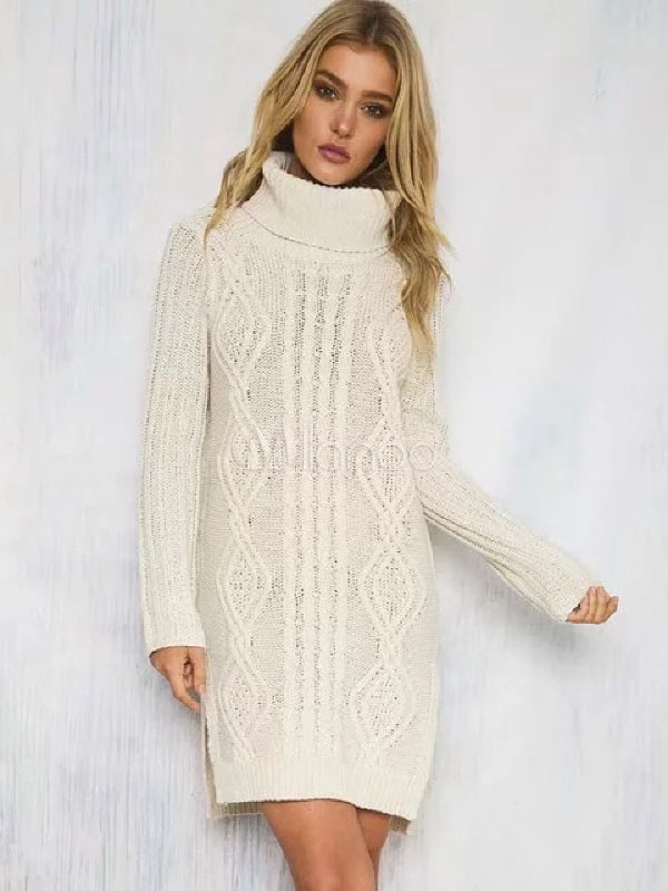 51cc5105af7 ... Turtleneck Sweater Dress White Chunky Cable Knit Long Sleeve Split Midi  Dress-No.2 ...