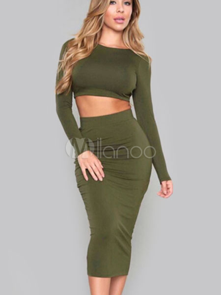 24c34032da2f ... Women Two Piece Skirt Set Long Sleeve Backless Cross Back Crop Top With  Shaping Skirt- ...