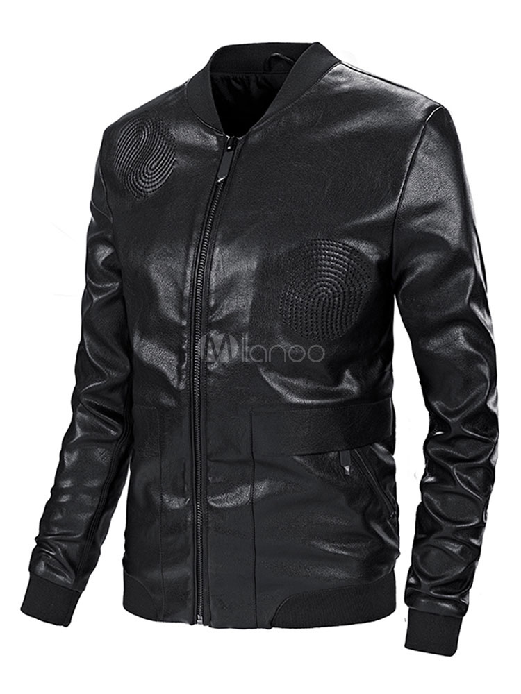 e989c40be8a ... Black Leather Jacket Plus Size Biker Jacket Pattern Stand Collar PU Men Motorcycle  Jacket-No ...