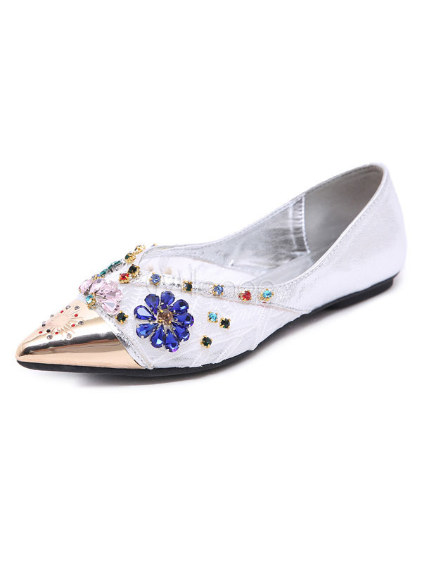 001623842e3f2 White Ballet Flats Pointed Toe Rhinestones Flowers Shape Slip On Shoes  Women Flat Shoes-No ...