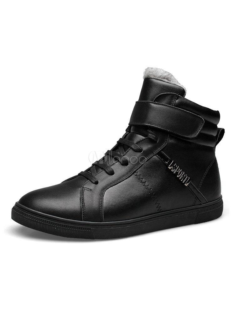 Sneakers uomo Pelle bovina Punta rotonda Scarpe stringate con lacci alte e  nere Scarpe invernali nere ... 6679db20fc5