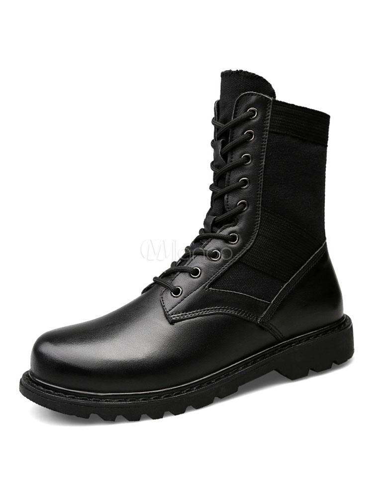 muy baratas rebajas(mk) comprar auténtico Botas de combate con cordones y botines de punta redonda con botines negros  para hombre
