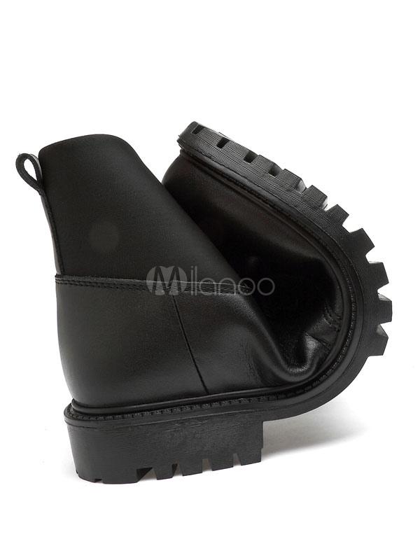 Männer schwarze Stiefel Round Toe Schnürstiefel Rindsleder Winterstiefel