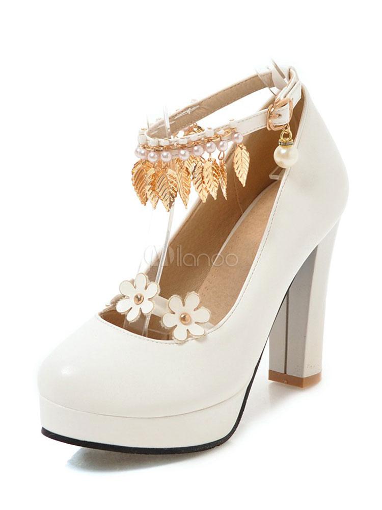 Zapatos de Tacón Altos 2019 Blancos con Plataforma Almendra Flores con  Cuentas Metal Detalle Tobillo Cinta ... decfff516036