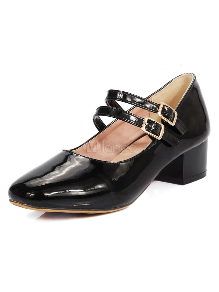 Buy Black Mary Jane Shoes Women Square Toe Buckle Detail Chunky Heel Pumps Vintage Shoes for $33.14 in Milanoo store
