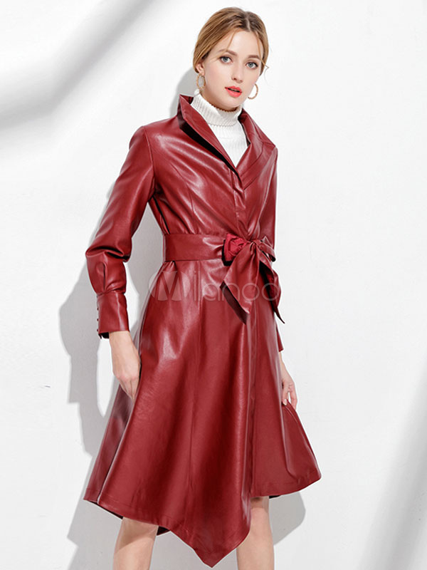Frauen Kunstleder Winter Mantel Unregelmäßiger Roter W2HYE9DI