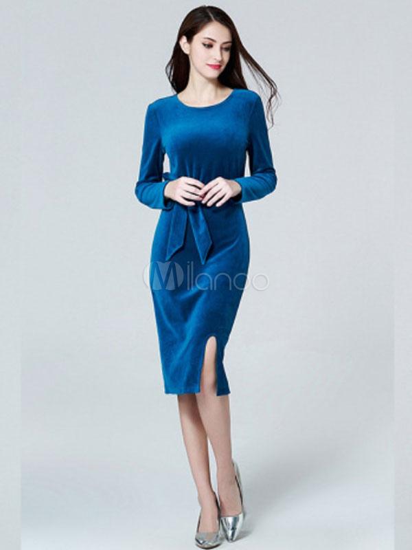 Midi Dress Langarm Shaping Frauen Rundhals Velour Blau Kleid WHD2IE9
