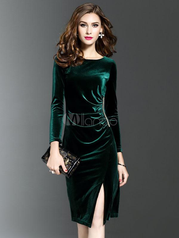 2488b1e274ac5 ロングスリーブベロアドレス女性ミディドレスラウンドネックスプリットシェイピング秋のドレス-No ...